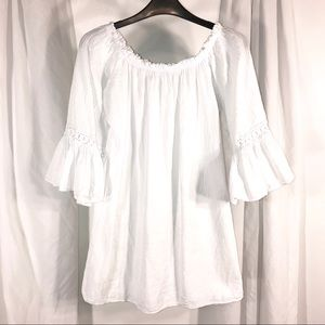 White Peasant Gauze Top With Bell Sleeves, Size M